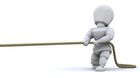 co operation: 3d render of a man pulling on a rope