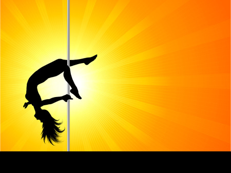 female stripper: Silhouette of an acrobatic pole dancer