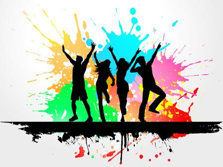 persone che ballano: Sagome di persone che balla sul grunge background Vettoriali