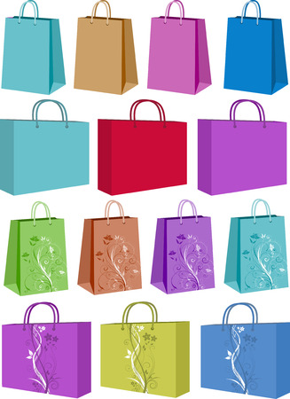 carriers: Various shopping bags - some with floral designs Illustration