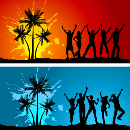 dancer male: Silhouettes of people dancing on grunge palm tree backgrounds