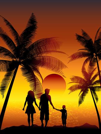 Silhouetten van een gezin lopen op een tropisch strand