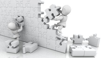 3D render of men solving a jigsaw puzzle Stock Photo - 5056947