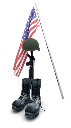 memorial cross: 3D render homenaje de soldado ca�do