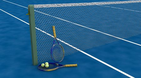 raquet: 3d render of tennis raquet and balls Stock Photo