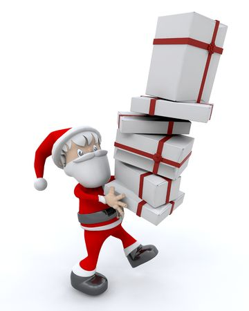 3d render of santa clause and gifts Stock Photo - 5056956
