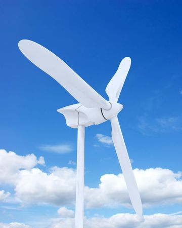 3d render of wind farm turbine and clouds Stock Photo - 5056957