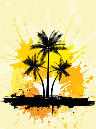 Grunge style palm trees background Stock Vector - 5056980