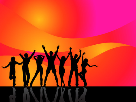 Silhouettes of people dancing Stock Vector - 5056979