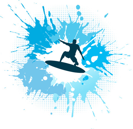 surf silhouettes: Silhouette of a surfer on a grunge splash background
