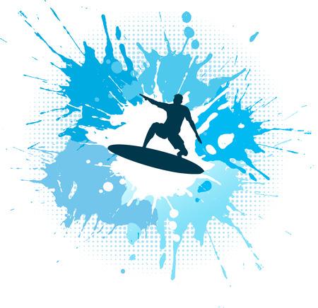 Silueta de un surfista en una salpicadura de fondo grunge