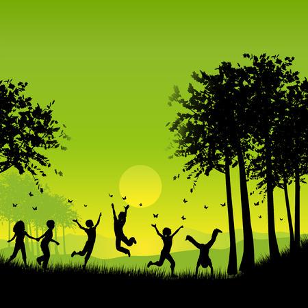enfants qui jouent: Silhouettes d'enfants jouant dehors de chasser les papillons Illustration