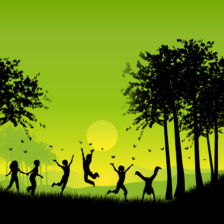 children playing outside: Silhouettes of children playing outside chasing butterflies Illustration