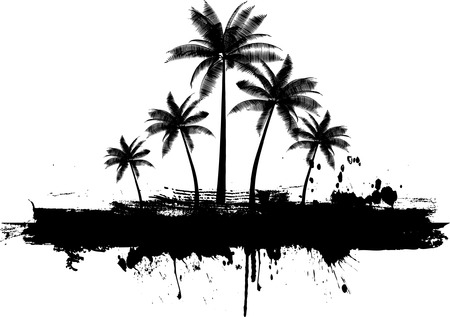 on palm tree: Grunge palm trees background