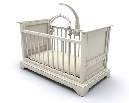 3D render of a cot for a baby Stock Photo - 5101356