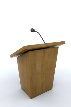 announcing: 3d render of lectern and microphone
