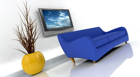 settee: 3d render of sofa and television on the wall