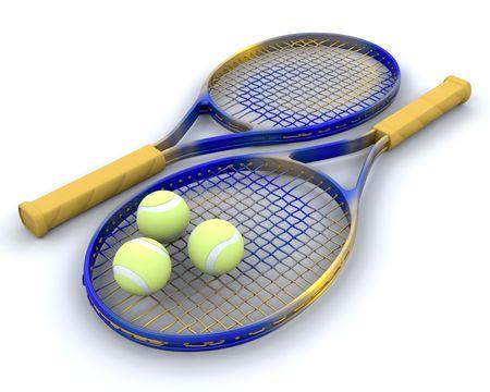 raquet: 3d render of tennis raquet and balls Stock Photo