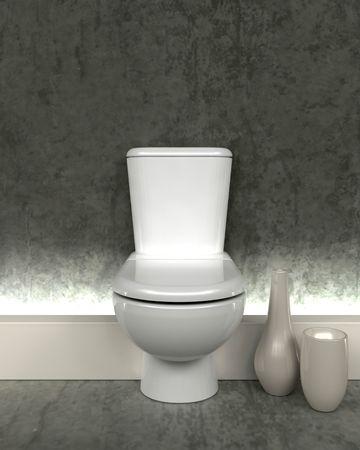 toilet sink: 3D render de un ba�o contempor�neo Foto de archivo