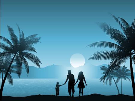 ni�os caminando: Familia caminando en la playa de noche Vectores