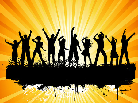 teenagers group: Silhouettes of people dancing on grunge background