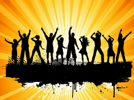 pareja adolescente: Siluetas de personas bailando sobre fondo grunge Vectores