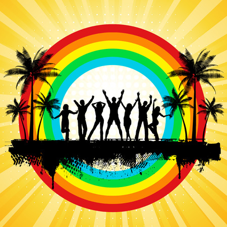 Silhouettes of people dancing on a grunge summer background Vector
