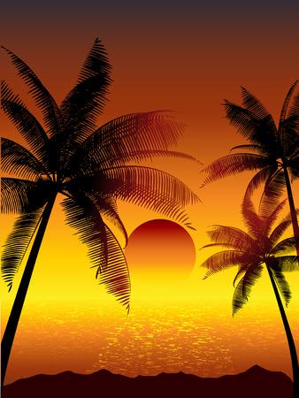 Tropischen Sonnenuntergang mit Palmen