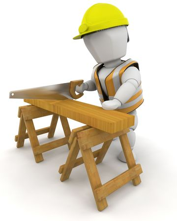sawing: 3D Render of a man sawing wood Stock Photo