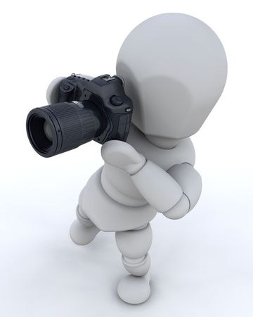 3D render of a man using a camera Stock Photo - 5170660