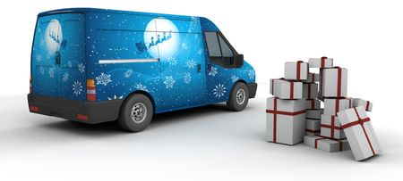 3D Render of a Christmas Delivery Van Isolated on White Stock Photo - 5170670