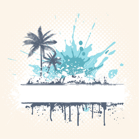 vector waves: Grunge style palm trees background
