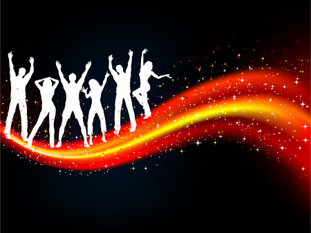 Silhouettes of people dancing on abstract background Stock Vector - 5170668