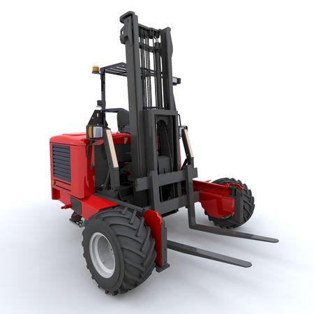 3d render of forklift truck on white photo