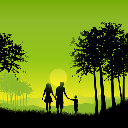 Silhouette of a family out walking  Vector