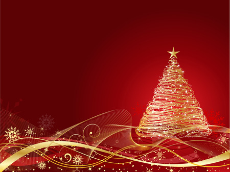 Golden Christmas tree on decorative background Vector