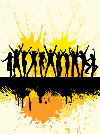 youth group: Silhouettes of people dancing on grunge background