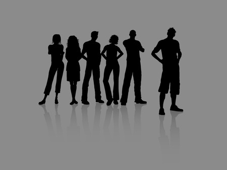 Group of young casual people Vector