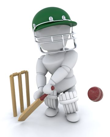 3d render of a man playing cricket photo