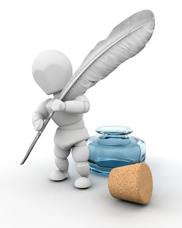 pen writing: 3d render of a man with ink well and feather quill