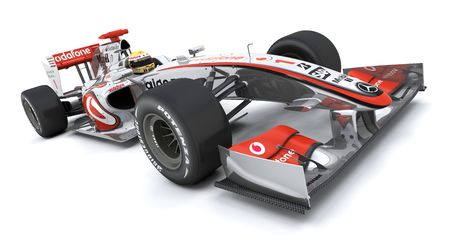 one to one: 3D render of a Formula racing car