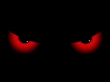 devilish: Red evil eyes on a black background