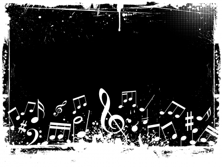 musical staff: Music notes on grunge background