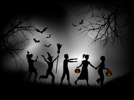 Children playing on Halloween night Vector