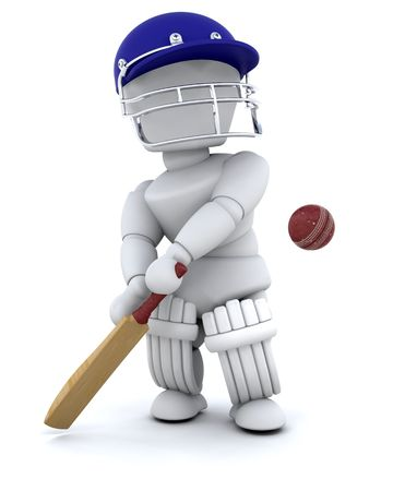 cricketer: 3d render of a man playing cricket