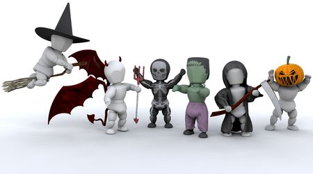 party outfit: 3D render of men in halloween party outfits