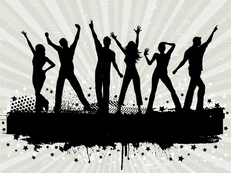 Silhouettes of people dancing on a grunge background Stock Vector - 5283336