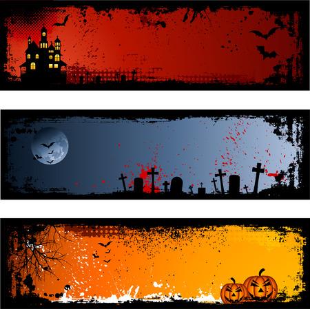 Three different spooky Halloween backgrounds Vector
