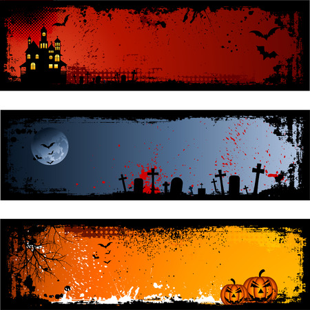 tombstone: Three different spooky Halloween backgrounds
