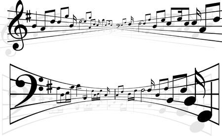 notes de musique: R�sum� des notes de musique de style dessins